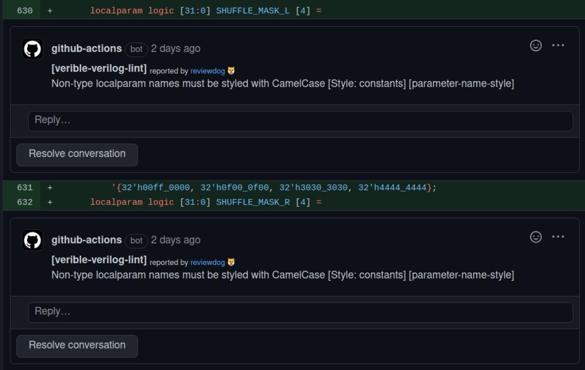 Screenshot of Verible Github Actions
