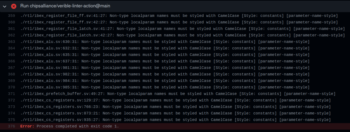 Verible CI setup used by OpenTitatn project